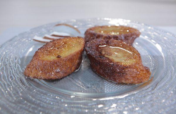 Torrijas con dulce de coco baja